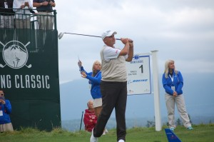 Rocco Mediate tees off on par-5 first hole